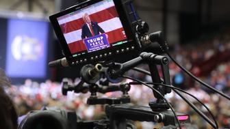 GRAND RAPIDS, MI - OCTOBER 31:  Republican presidential nominee Donald Trump appears on a television camera viewfinder as he addresses a campaign rally at the Deltaplex Arena October 31, 2016 in Grand Rapids, Michigan. With just eight days until the election, polls show a slight tightening in the race.  (Photo by Chip Somodevilla/Getty Images)