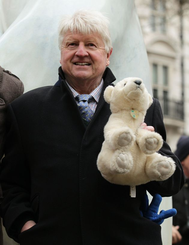 Stanley Johnson atthe unveiling of a life size 12ft bronze polar bear named Boris - to launch a...