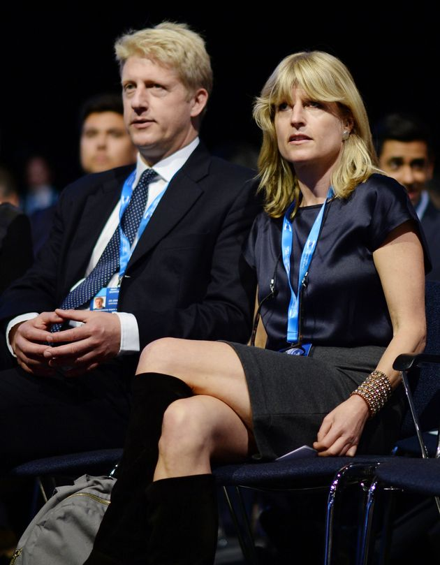 Rachel and Jo Johnson listen to their brother address the 2015 Conservative Party