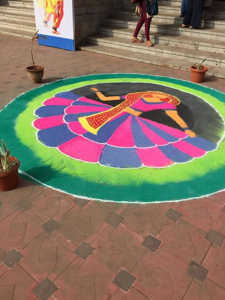 A <em>kolam, </em>a local art form, is a welcome sign at the Indian Association of Women's Studies Conference