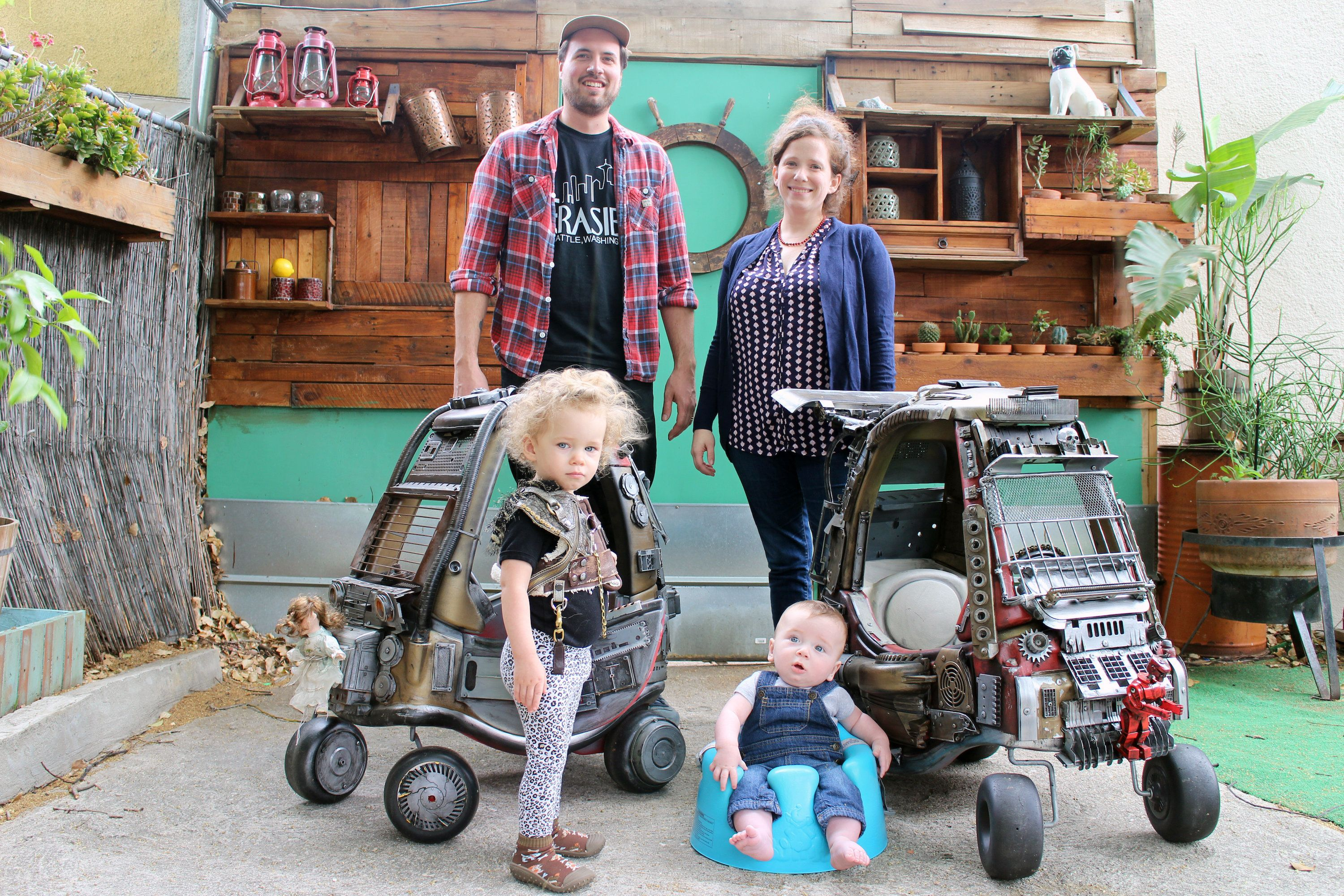 """Ian Pfaff turned typical Little Tikes Cozy Coupe toy cars into """"Mad Max"""" vehicles."""