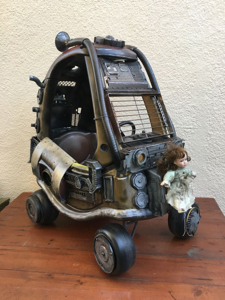 """Junior's Mad Max Mobile was made out of her mom's old breast pump and a """"big box of cool looking junk."""""""