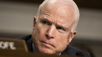 WASHINGTON, USA - FEBRUARY 9: Committee Chairman Senator John McCain questions General John Nicholson (not seen) during a Senate Armed Services Committee hearing on the Situation in Afghanistan at the U.S. Capitol in Washington, USA on February 9, 2017. (Photo by Samuel Corum/Anadolu Agency/Getty Images)