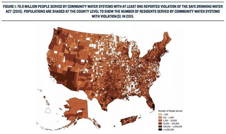 A new analysis of federal drinking water data shows that Safe Drinking Water Act violations are widespread, impacting about 7