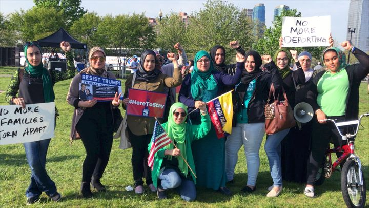 Muslim women from the Hudson County area attend a May Day rally in support of Zak in Jersey City, NJ.