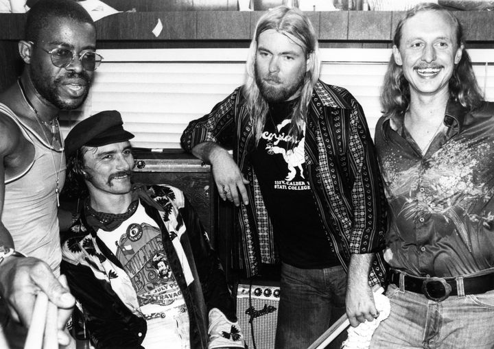"From left to right: Jai ""Jaimoe"" Johnny Johnson, Dickey Betts, Greg Allman, Butch Trucks."
