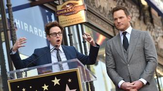 HOLLYWOOD, CA - APRIL 21:  Writer/director James Gunn (L) and actor Chris Pratt attend the ceremony honoring Chris Pratt with a star on the Hollywood Walk of Fame on April 21, 2017 in Hollywood, California.  (Photo by Axelle/Bauer-Griffin/FilmMagic)