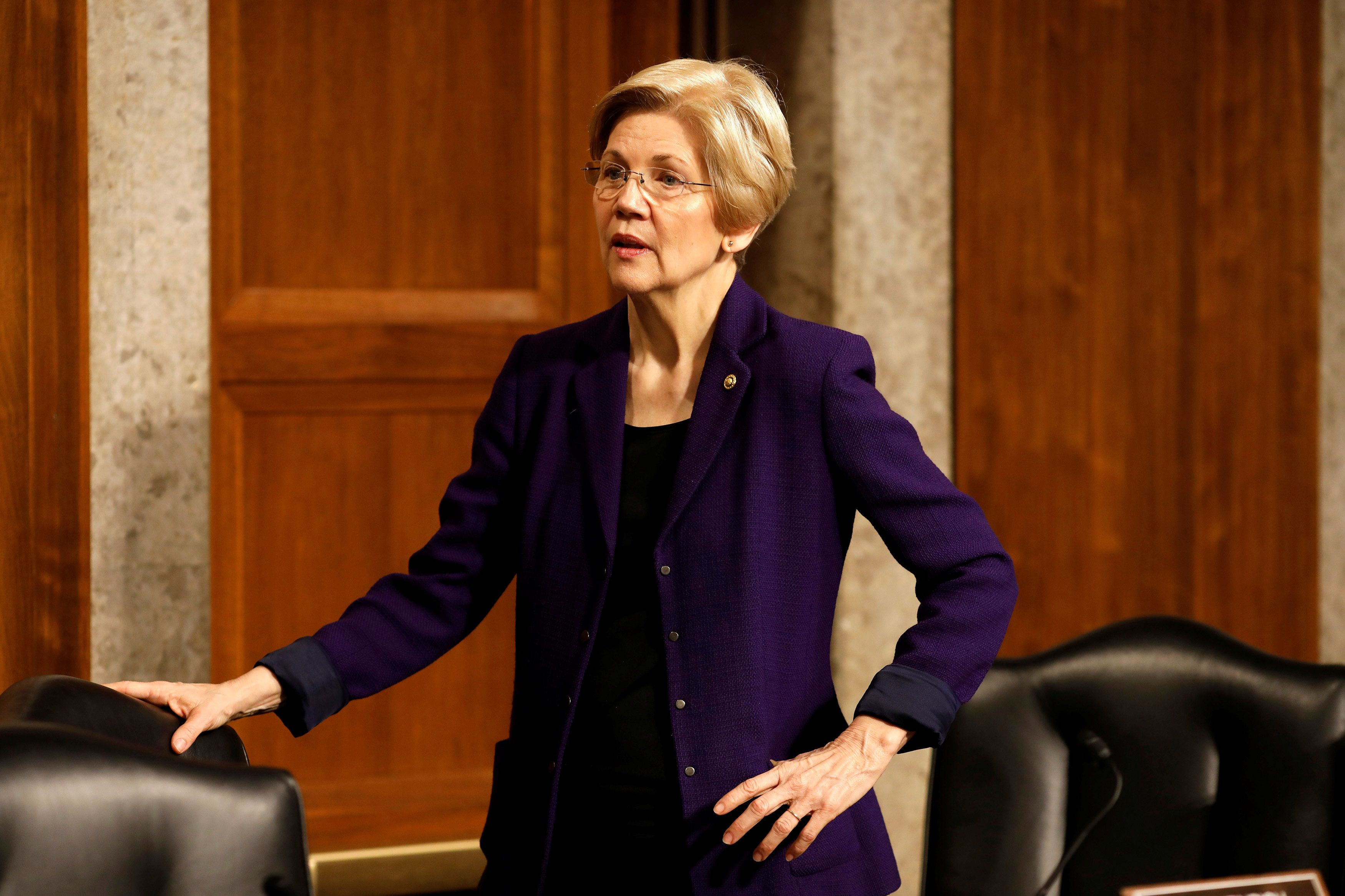 Senator Elizabeth Warren (D-MA) arrives for a Senate Armed Services Committee hearing on the Marines United Facebook page on Capitol Hill in Washington, D.C., U.S. March 14, 2017.  REUTERS/Aaron P. Bernstein