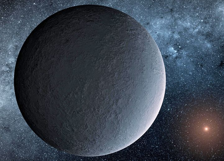 """This artist's concept depicts an """"iceball"""" exoplanet designated OGLE-2016-BLG-1195Lb, discovered with a technique called microlensing."""