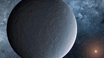 This artists concept depicts an iceball exoplanet designated OGLE-2016-BLG-1195Lb discovered with a technique called microlensing