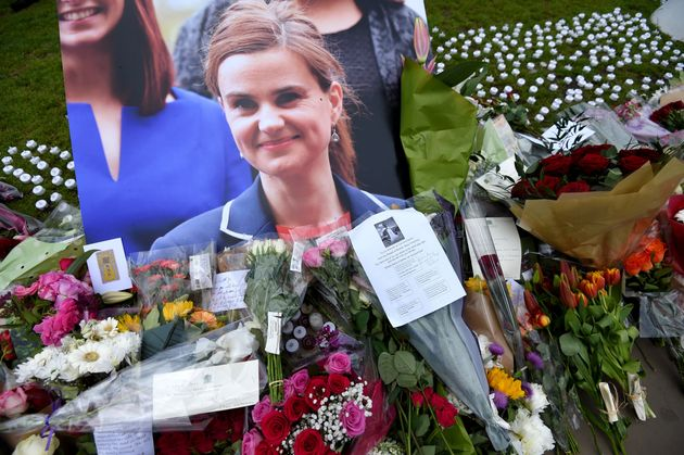 Some of the floral tributes to Jo Cox in Parliament Square in