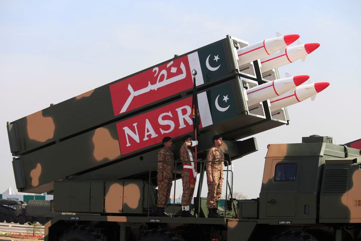 Pakistan displays its nuclear-capable NASR missile battery during a military parade in Islamabad on March 23, 2017.