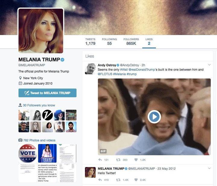 Melania Trump's likes on Twitter.