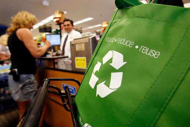 Instead of grabbing a paper or plastic bag at the supermarket, bring your own reusable