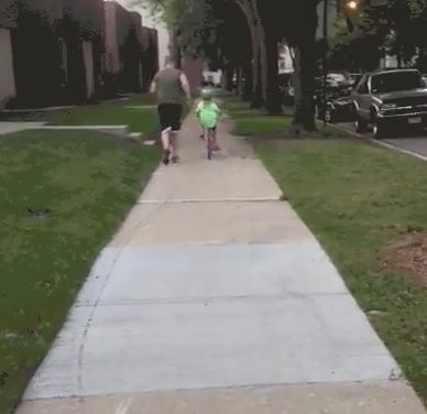 Girl Learning To Ride A Bike, Gets Totally Upstaged By Her Little