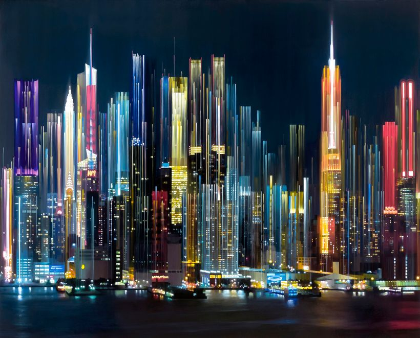Alexandra Pacula, <em>Vertical City</em>, 2017, Oil on canvas, 78 x 96 in.