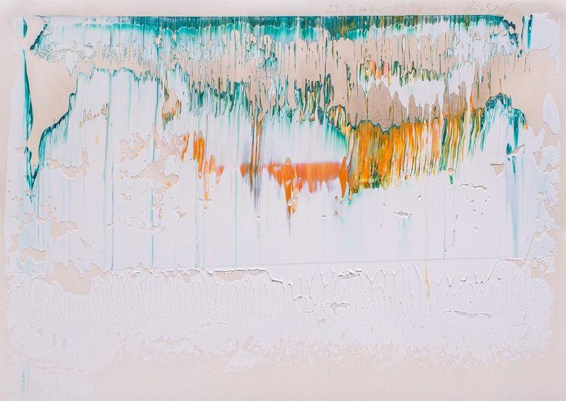 Gerhard Richter, <em>Paper Fuji (23 Oktober 1996)</em>, 1996, Oil on paper, 11 ½ x 16 ¼ in.