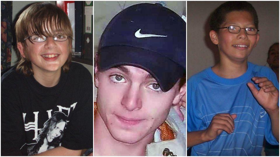 Gone, but not forgotten: (left to right) Andrew Gosden, Luke Durbin, Alex
