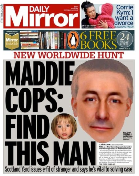 The Daily Mirror's front page after the e-fit was