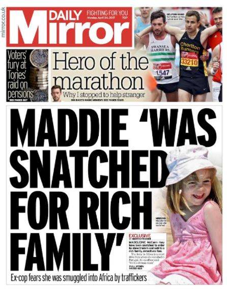 The Daily Mirror's front page about the child trafficking