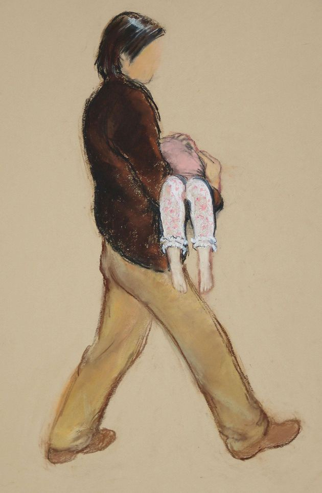 A sketch from the time of the man seen carrying a child in pink
