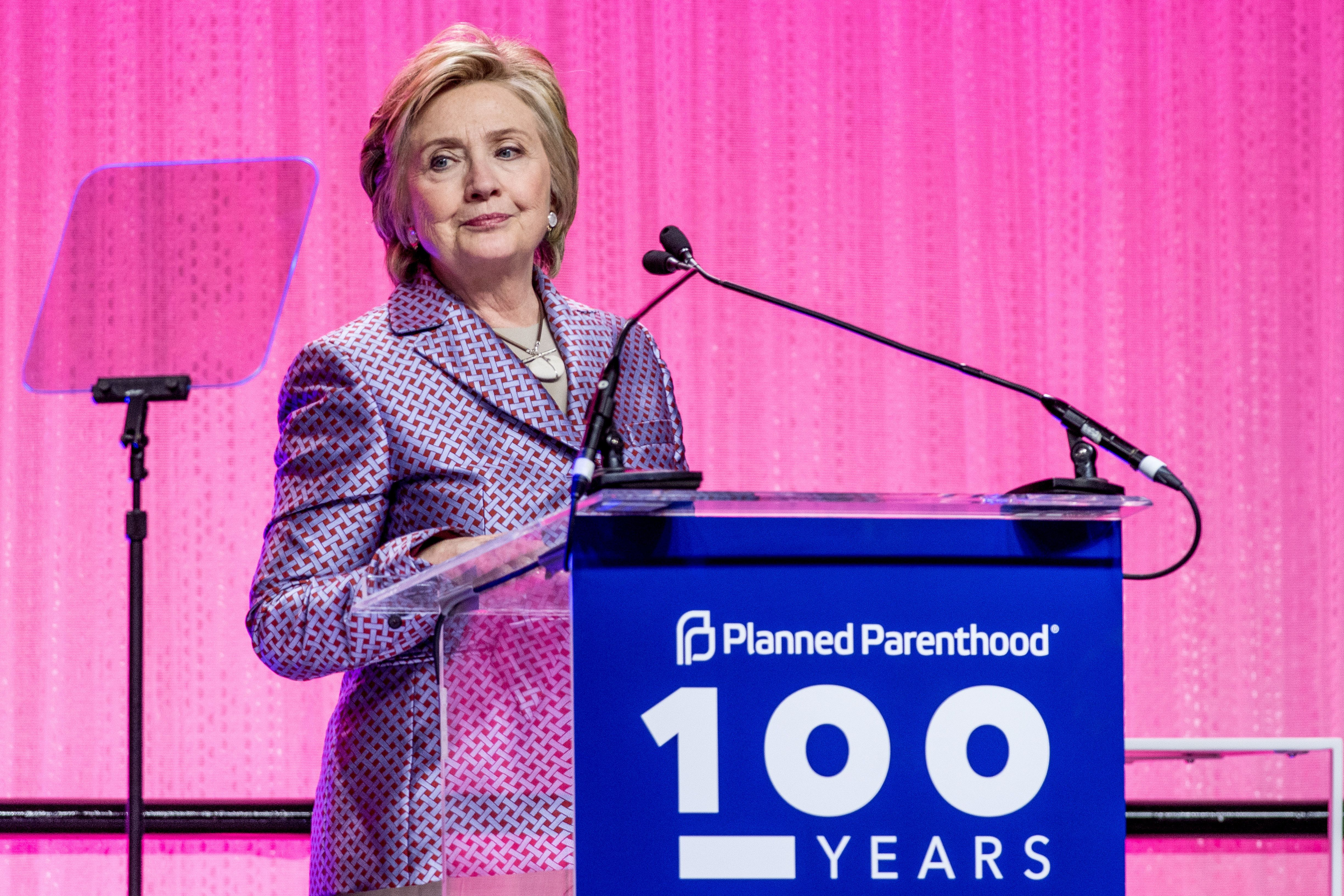 Hillary Clinton speaks during the Planned Parenthood 100th anniversary gala on May 2 in New York City.