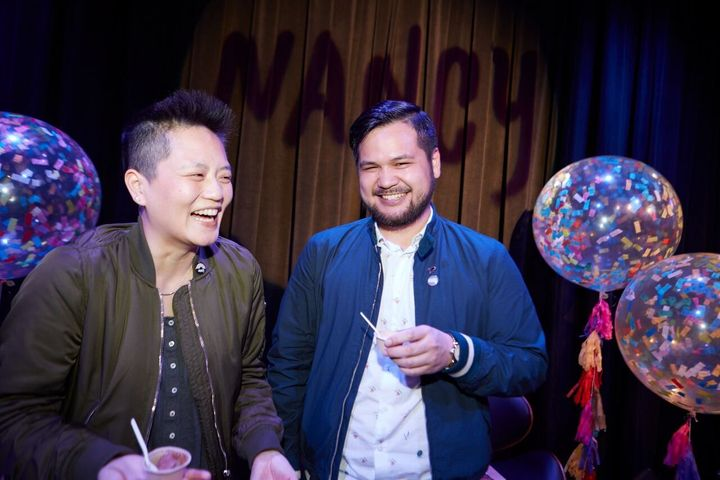 """Kathy Tu (left) and Tobin Low are the co-hosts of """"Nancy,"""" which examines LGBTQ issues through an Asian American lens."""
