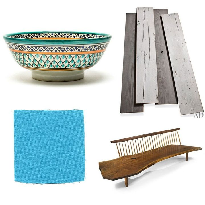 <p>With a renovation under way that included replacing wide oak planks (upper right) with poured concrete, Paulson has her eye on decorating. Her taste includes a floating walnut wood bench for her steam shower (like the one at lower right), lots of turquoise and fuchsia, and French Moroccan farmhouse decor.</p>