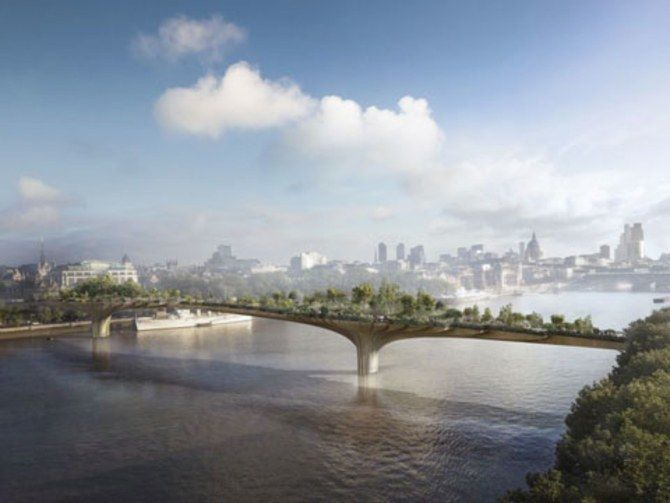 <p>A rendering of the Thomas Heatherwick-designed Garden Bridge in London. A project that was supposed to be finished in a year, but has since been cancelled.</p>