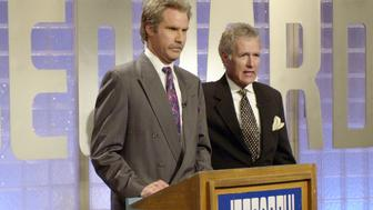 SATURDAY NIGHT LIVE -- Episode 20 -- Air Date 05/18/2002 -- Pictured: (l-r) Will Ferrell as Alex Trebek and Alex Trebek as himself during the 'Jeopardy!' skit on May 18, 2002  (Photo by Mary Ellen Matthews/NBC/NBCU Photo Bank via Getty Images)