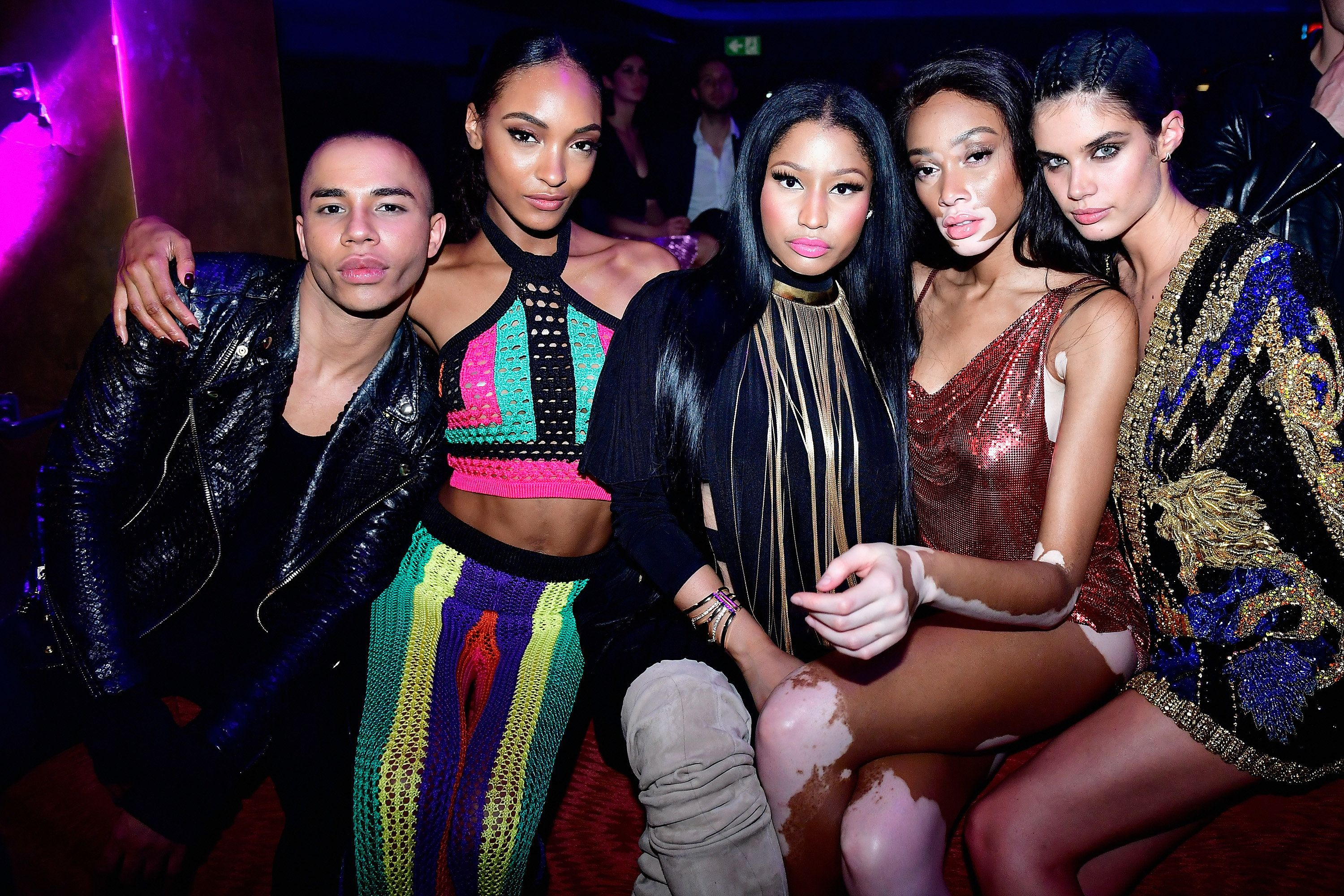(L-R) Olivier Rousteing, Jourdan Dunn, Nicki Minaj, Winnie Harlow and Sara Sampaio attend Balmain aftershow...