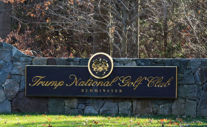 A sign on the stone wall greets visitors to the Trump National Golf Club on November 18, 2016 in Bedminster Township, New Jersey.