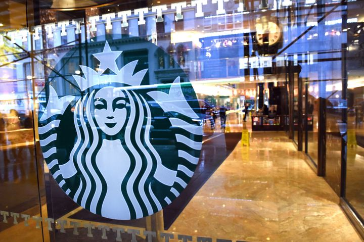 A shot of the Starbucks sign in Trump Tower on 5th Avenue.