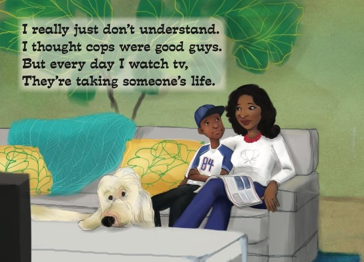 "A page from the new book ""Mama, Did You Hear the News?"" by Sanya Gragg, illustrated by Kim Holt"