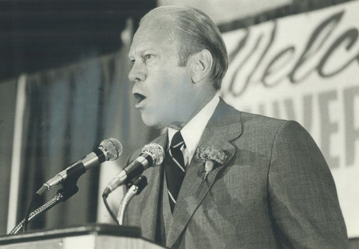 Former President Gerald Ford delivering one of the many paid speeches he gave during his ex-presidency.