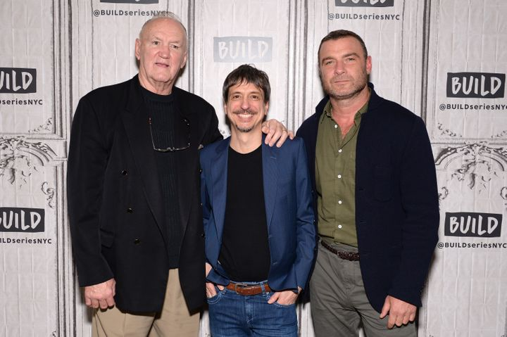Boxer Chuck Wepner, director Philippe Falardeau and Liev Schreiber attend the Build Series to discuss the film 'Chuck' at Bui