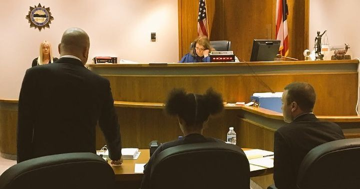 Bresha Meadows, in center chair, appears in court Wednesday as her lawyer asks for her to be released until her trial.