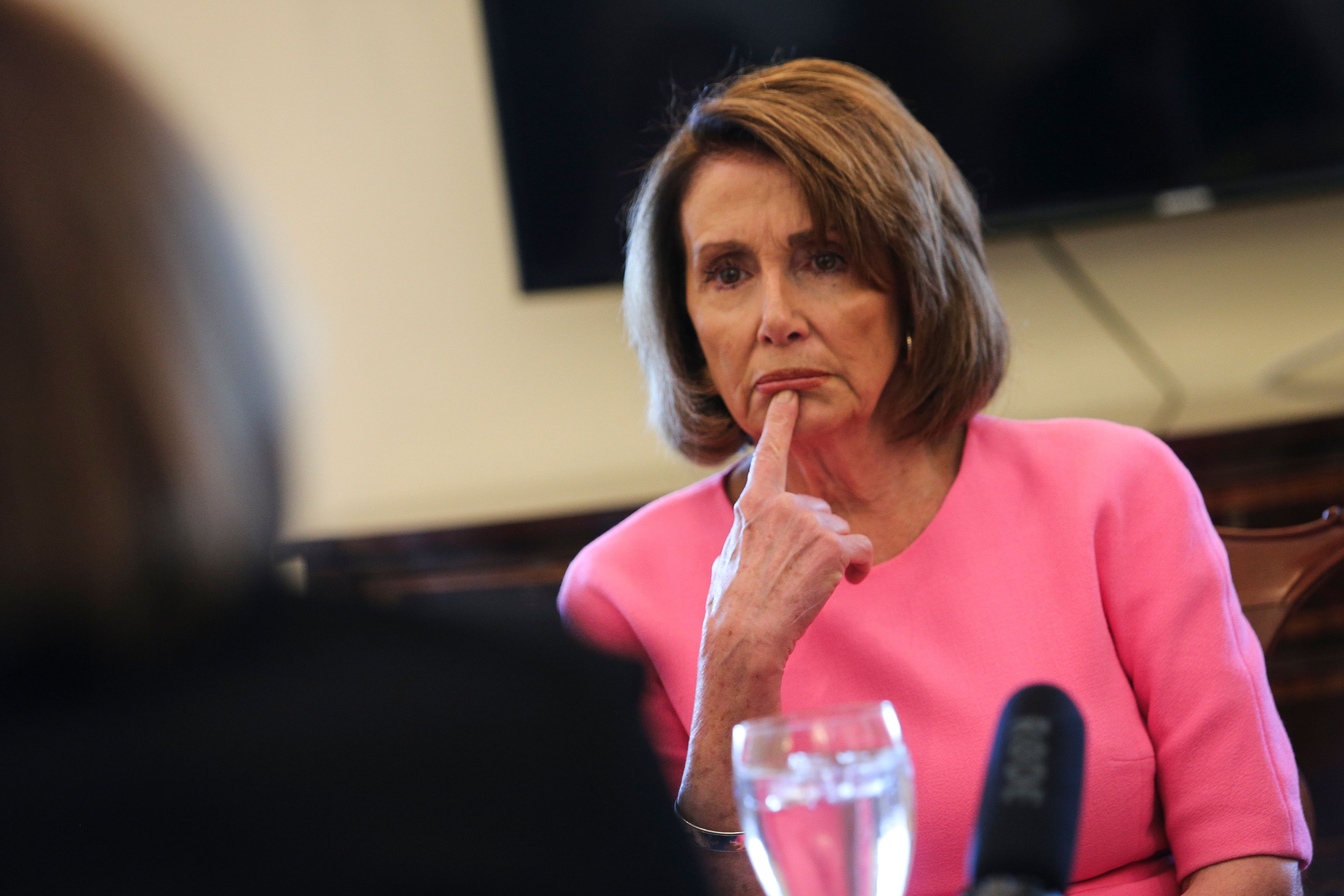 WASHINGTON, DC - MAY 2: House Minority Leader Nancy Pelosi of Calif. listens to reporters during meeting in her office on Capitol Hill, in Washington, DC., on May 2, 2017.  (Photo by Oliver Contreras/For The Washington Post via Getty Images)