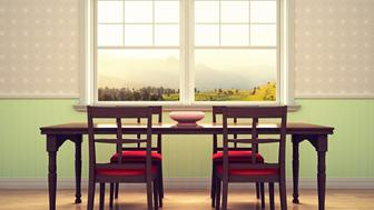Dining room with beautiful view.