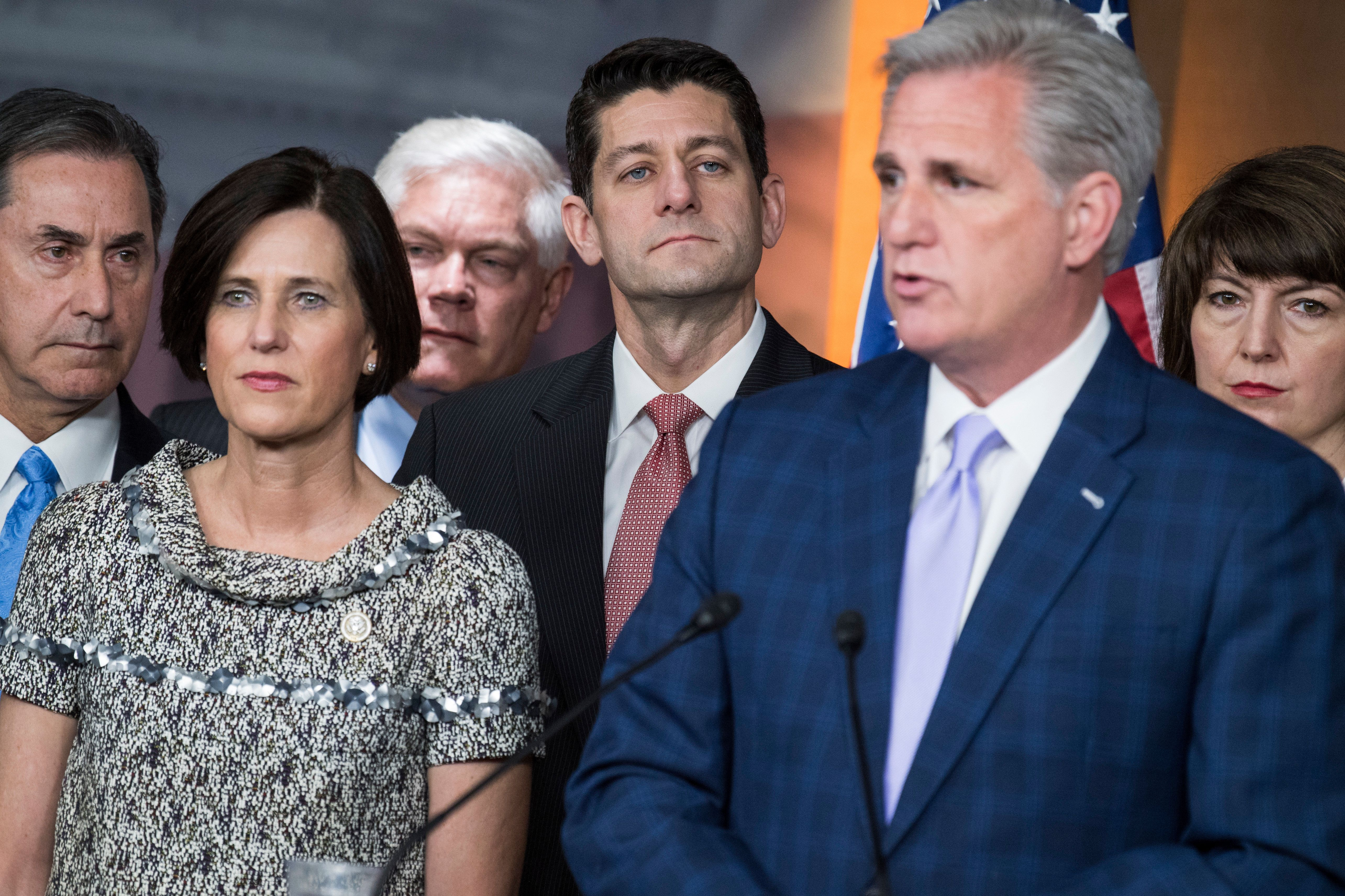 UNITED STATES - APRIL 6: From left, Reps. Gary Palmer, R-Ala., Mimi Walters, R-Calif., Pete Sessions, R-Texas, Speaker Paul Ryan, R-Wis., House Majority Leader Kevin McCarthy, R-Calif., and Rep. Cathy McMorris Rodgers, R-Wash., conduct a news conference with members the GOP caucus in the Capitol Visitor Center to announce a new amendment to the health care bill to repeal and replace the ACA, April 6, 2017.(Photo By Tom Williams/CQ Roll Call)