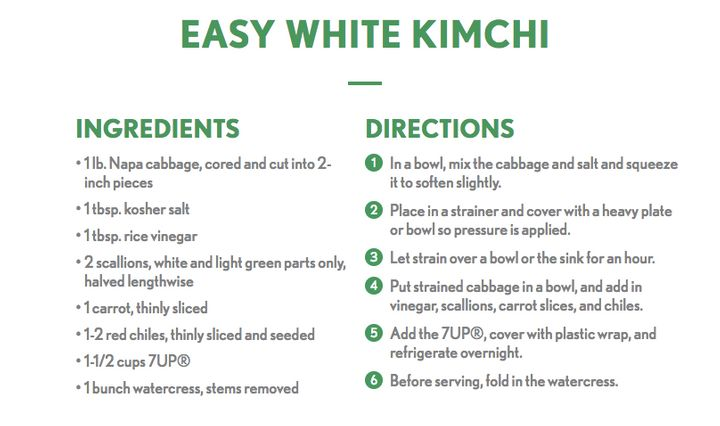 "7Up's ""Easy White Kimchi"" recipe, which includes a generous pour of its own soda, was part of the company's <a href=""htt"