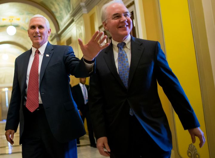 Vice President Mike Pence, left, with Health Secretary Tom Price on Capitol Hill on Wednesday, singled Price out as part