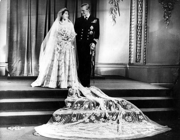 20th November 1947: Princess Elizabeth, and The Prince Philip, Duke of Edinburgh at Buckingham Palace...