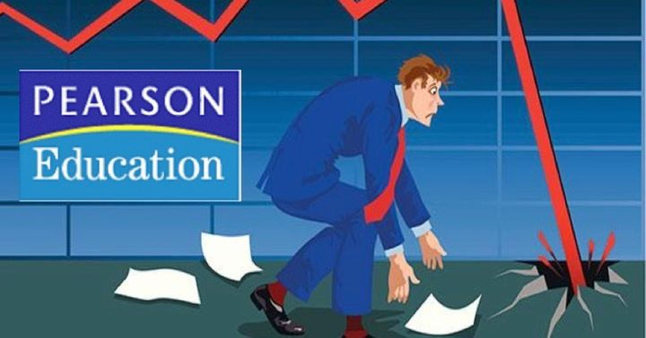 Pearson's stock value is crashing.