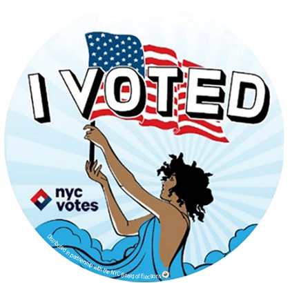 """A voter raises the American flag with pride having just exercised her right to vote."" -<a href=""http://www.loveandvictory.co"