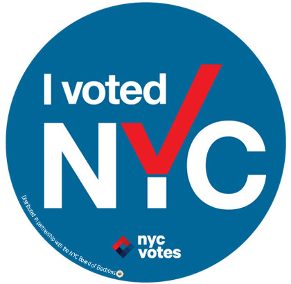 """The sticker design uses a typeface commonly seen by New Yorkers, a patriotic color palette, and the Y forms a check mark, si"