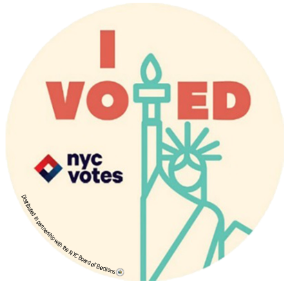 """We used the Statue of Liberty, an iconic symbol of both New York City and democracy, and incorporated it into the sticker&rs"
