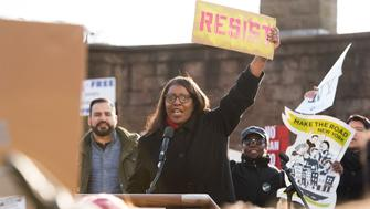NEW YORK, NY - JANUARY 29: NYC Public Advocate Letitia James. attends a rally to protest the executive order that President Donald Trump signed clamping down on refugee admissions and temporarily restricting travelers from seven predominantly Muslim countries in New York City on January 29, 2017 in New York City.  (Photo by Noam Galai/WireImage)