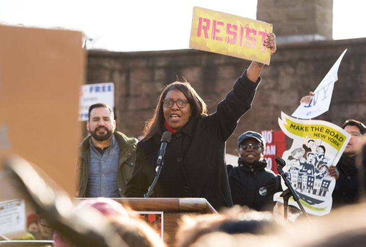 Public advocate Letitia James protests in NYC in January.