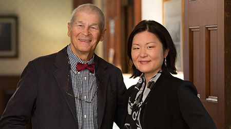 <p>Lois W. Choi-Kain, MEd, MD, right, with John G. Gunderson, MD, a pioneer in borderline personality disorder research and care</p>